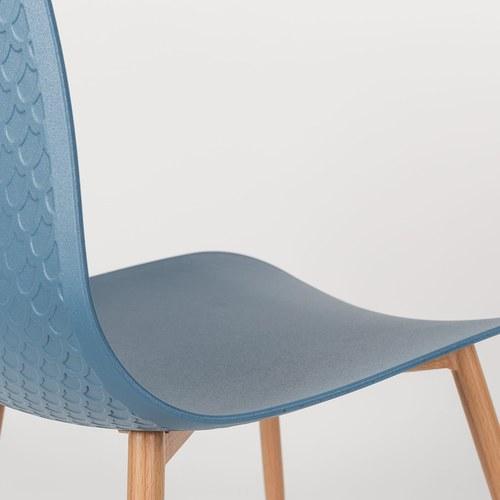 荷蘭Zuiver 刻花壓紋曲面單椅(藍)