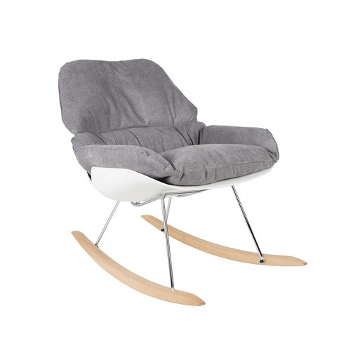 荷蘭Zuiver 柔軟舒適布面搖椅(淺灰)