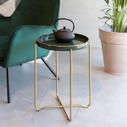 荷蘭Zuiver  琺瑯瓷托盤造型茶几(綠)