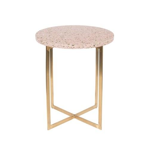 荷蘭Zuiver 金屬拼接水磨石邊桌(粉)