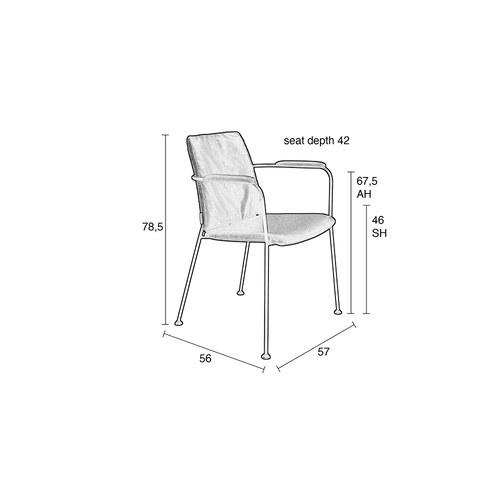 荷蘭Zuiver 金屬窗格透氣洞洞扶手椅 (巧克力黑)
