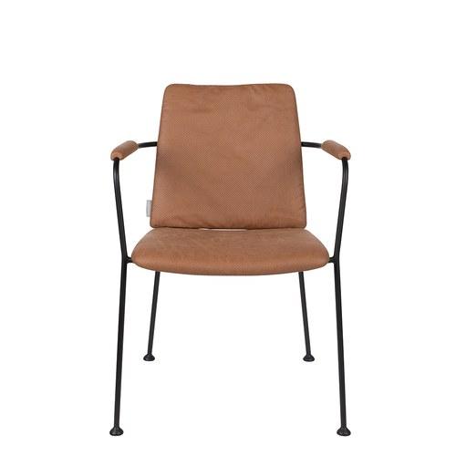 荷蘭Zuiver 金屬窗格透氣洞洞扶手椅 (棕)