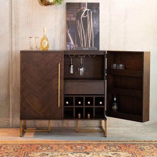 荷蘭Zuiver 經典深木色人字貼儲酒高櫃