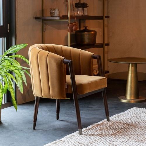 荷蘭Zuiver 微醺圓弧絨布扶手椅 (棕)