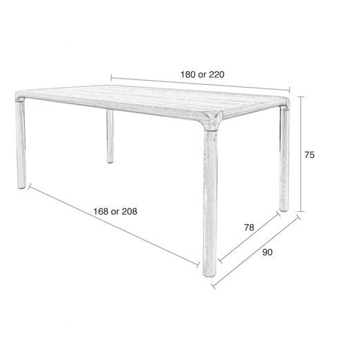 荷蘭Zuiver 倒角設計餐桌(胡桃木、長220公分)