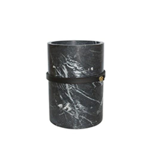 泰國DesignersField 黑色皮革深色大理石罐 (高15公分)