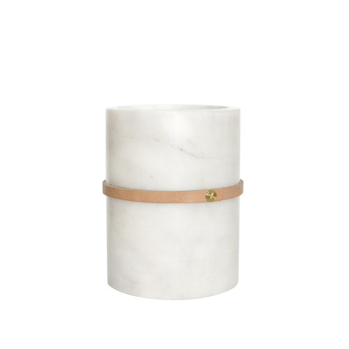 泰國DesignersField 原色皮革白色大理石罐 (細帶款)