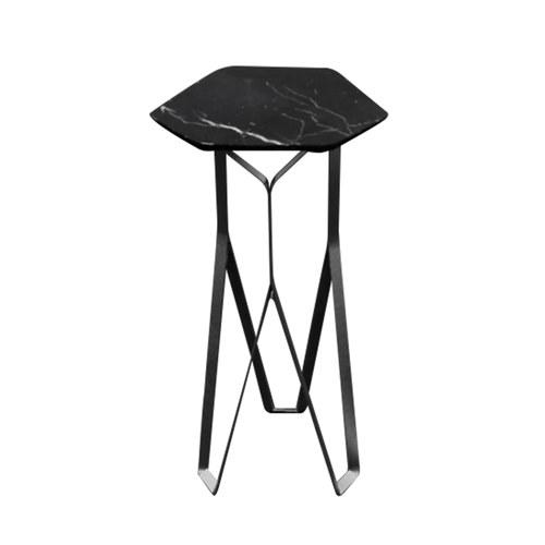 泰國Galvanii Chamfer大理石高腳桌 (黑)