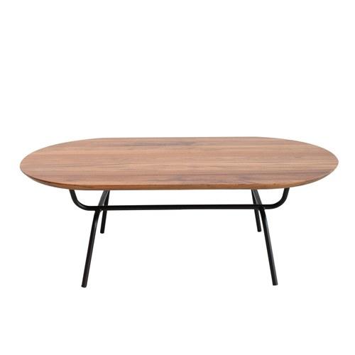 泰國OKWood 金屬腳長形咖啡桌 (柚木)
