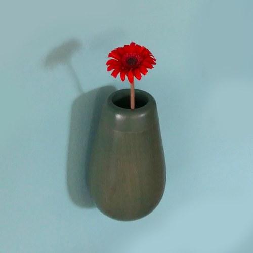泰國OKWood 橡木吊掛式花器 (黛綠)