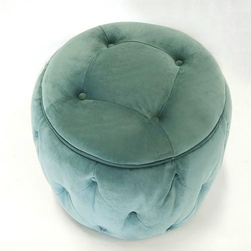 英國Alexander&James 天鵝絨手工圓形腳凳 (湖水綠)
