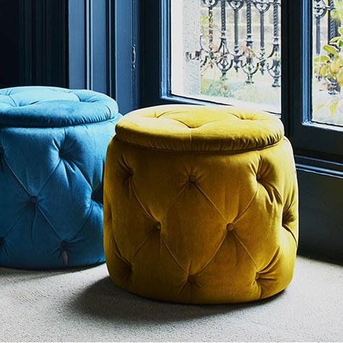 英國Alexander&James 天鵝絨手工圓形腳凳 (薑黃)