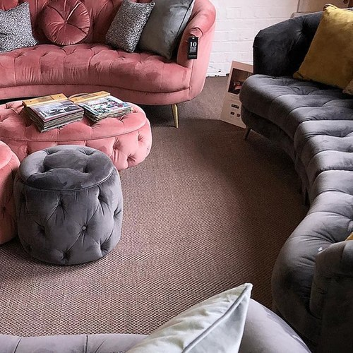 英國Alexander&James 天鵝絨手工圓形腳凳 (迷霧灰)