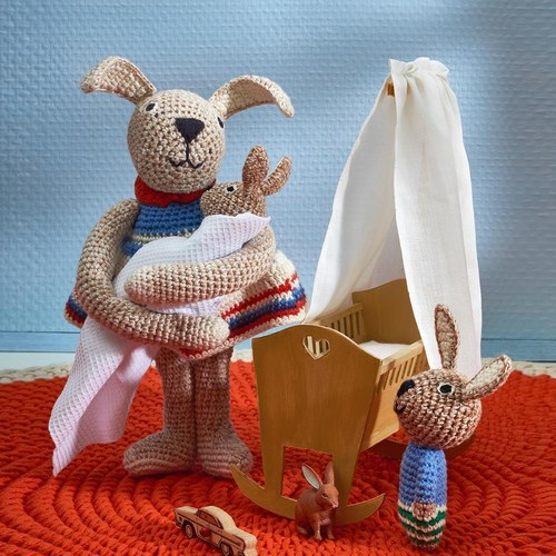 荷蘭ACP 條紋小洋裝兔子玩偶