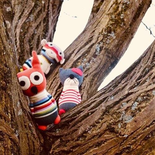 荷蘭ACP 紅條紋毛衣小花貓玩偶