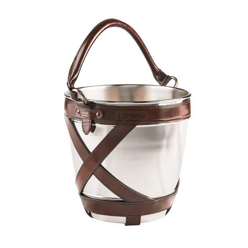 芬蘭Balmuir皮革家飾 交叉編織香檳冰桶 (深咖啡)