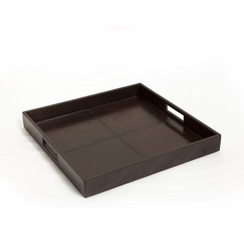 芬蘭Balmuir皮革家飾 鏤空把手款方形托盤 (深咖啡、長43公分)