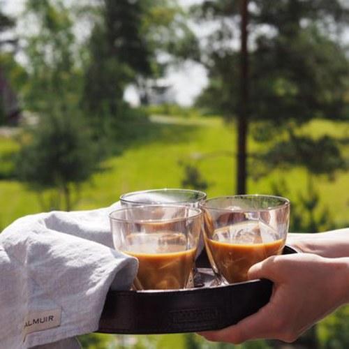 芬蘭Balmuir皮革家飾 圓形托盤 (深咖啡、直徑35公分)