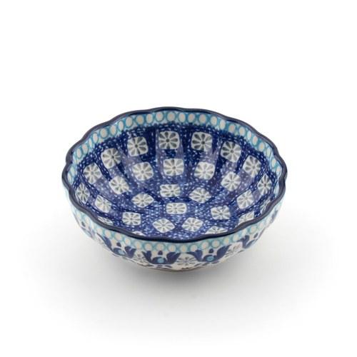 荷蘭BunzlauCastle 藍白地中海圖紋波浪型陶碗