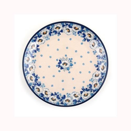 荷蘭BunzlauCastle 優雅白花圖紋陶盤 (直徑23.5公分)