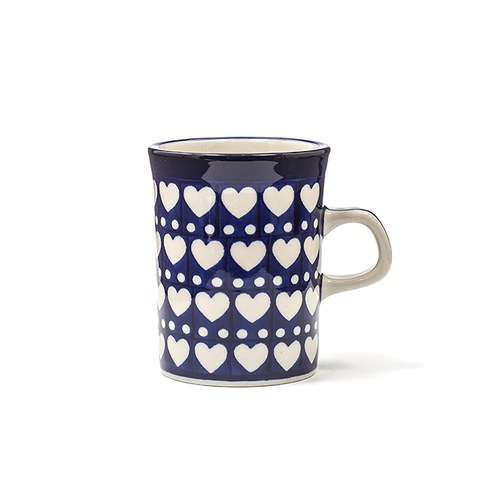 荷蘭BunzlauCastle 白色心形圖紋馬克杯 (150毫升)