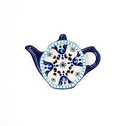荷蘭BunzlauCastle 藍白地中海圖紋茶壺造型碟