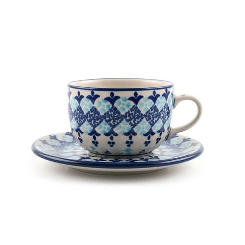荷蘭BunzlauCastle 希臘清新圖紋午茶杯盤組 (240毫升)