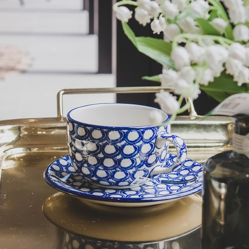 荷蘭BunzlauCastle 珍珠圖紋午茶杯盤組 (240毫升)