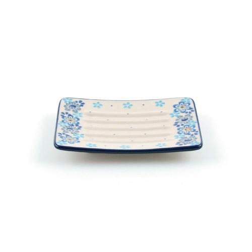 荷蘭BunzlauCastle 水藍色花朵圖紋肥皂盤