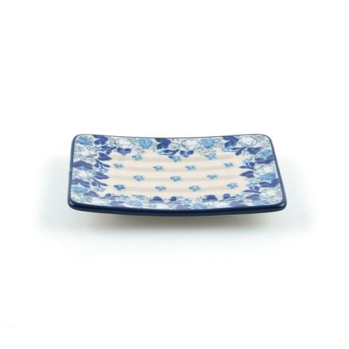 荷蘭BunzlauCastle 優雅白花圖紋肥皂盤