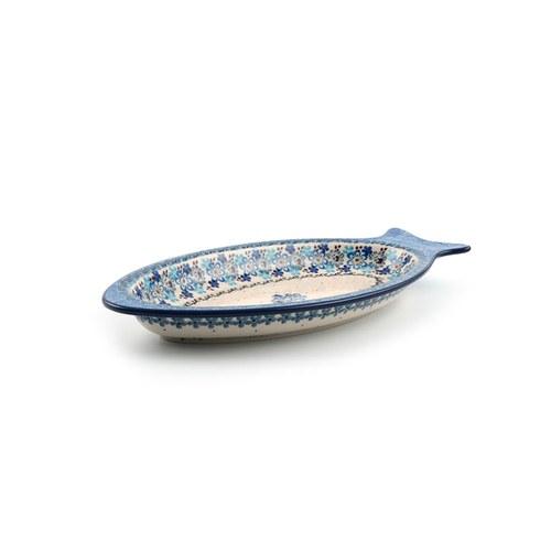 荷蘭BunzlauCastle 多色地中海圖紋魚型陶盤 (長30公分)