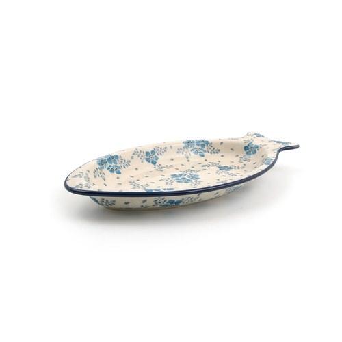 荷蘭BunzlauCastle 霜花圖紋魚型陶盤 (長30公分)