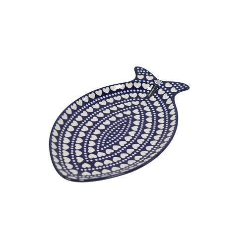 荷蘭BunzlauCastle 白色心形圖紋魚型陶盤 (長35公分)