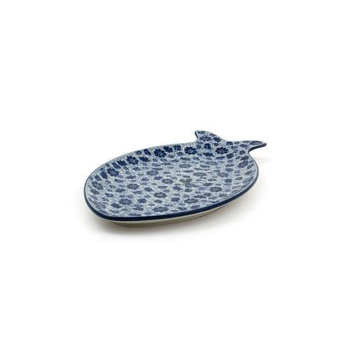 荷蘭BunzlauCastle 蜻蜓與花叢圖紋魚型陶盤 (長35公分)