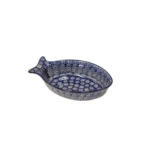 荷蘭BunzlauCastle 古典蕾絲圖紋魚形陶盤 (長19.5公分)