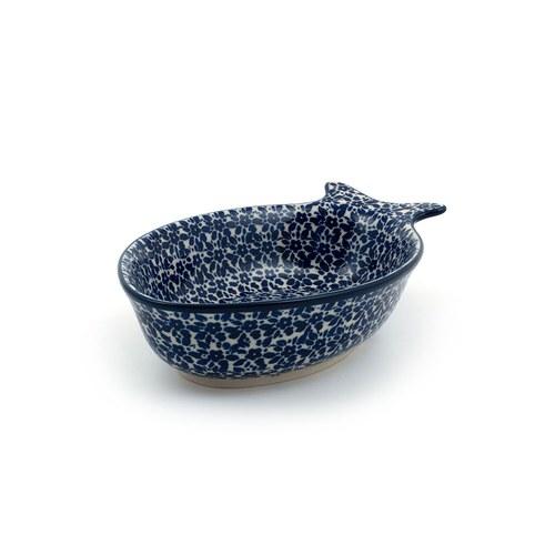 荷蘭BunzlauCastle 滿版花卉圖紋魚型陶盤 (長19.5公分)