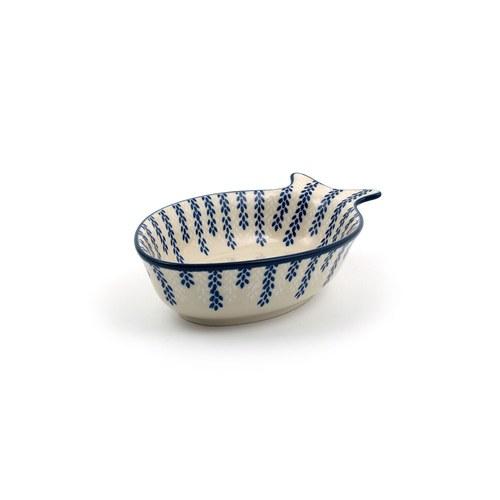 荷蘭BunzlauCastle 垂墜稻穗圖紋魚型陶盤 (長19.5公分)