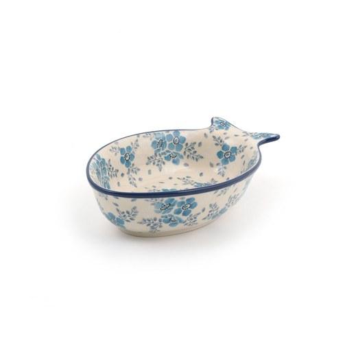 荷蘭BunzlauCastle 霜花圖紋魚型陶盤 (長19.5公分)