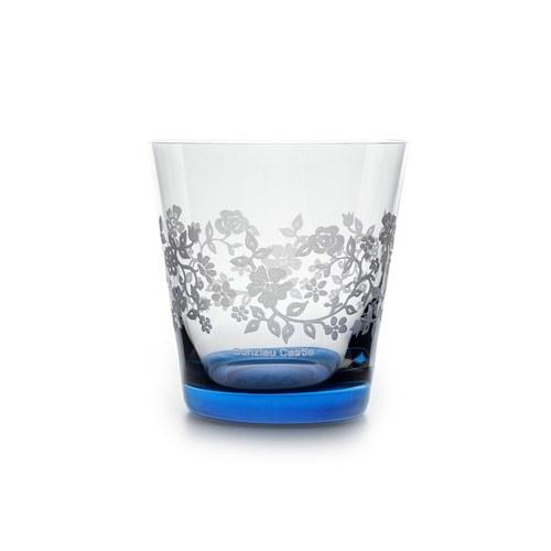 荷蘭BunzlauCastle 夏季花叢圖紋玻璃杯(藍)