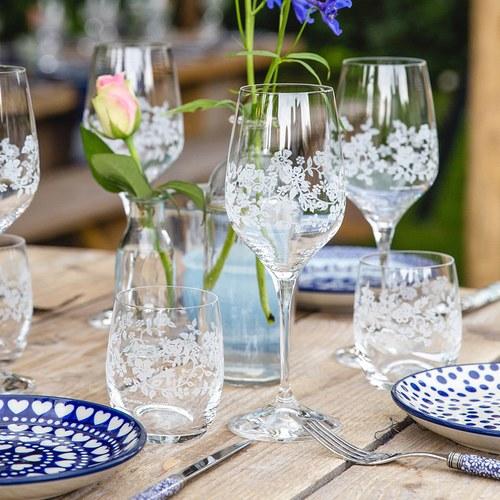 荷蘭BunzlauCastle 花瓣歐蕾圖紋玻璃杯(藍)