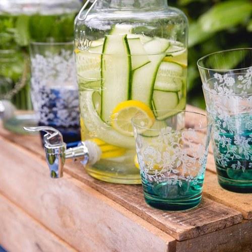 荷蘭BunzlauCastle 夏季花叢圖紋玻璃杯(綠)