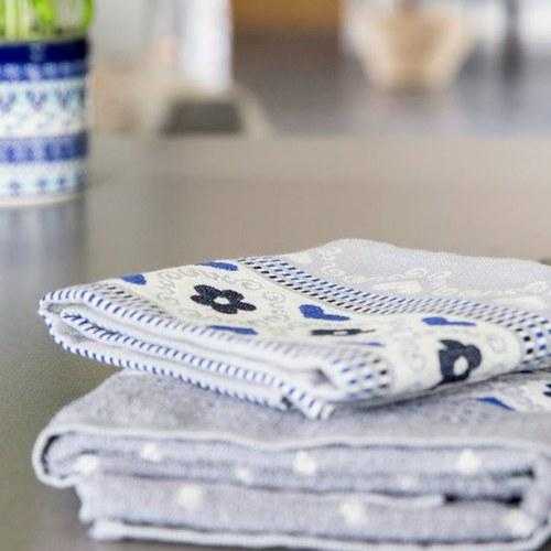 荷蘭BunzlauCastle 花瓣歐蕾圖紋茶巾 (灰)