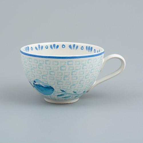 荷蘭FloraCastle 水藍色桔梗花圖紋咖啡杯 (310毫升)