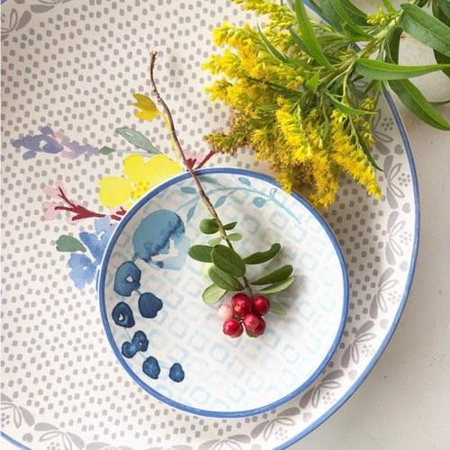 荷蘭FloraCastle 水藍色桔梗花圖紋甜點盤 (直徑10公分)