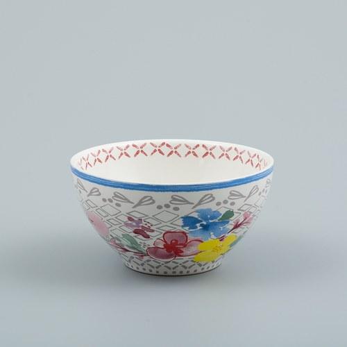 荷蘭FloraCastle 多色花束圖紋陶碗 (直徑11公分)