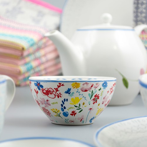 荷蘭FloraCastle 繽紛花朵圖紋陶碗 (直徑11公分)