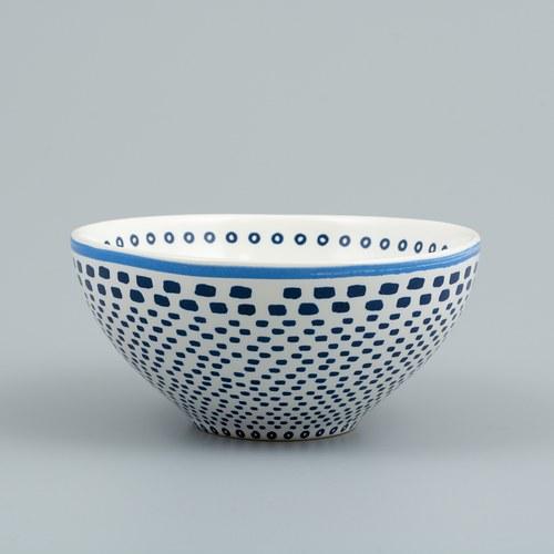 荷蘭FloraCastle 藍色手繪方塊圖紋陶碗 (直徑13公分)