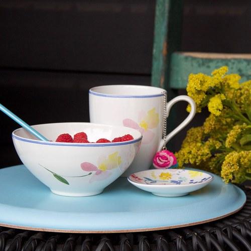 荷蘭FloraCastle 粉晶色飄香花圖紋陶碗 (直徑13公分)
