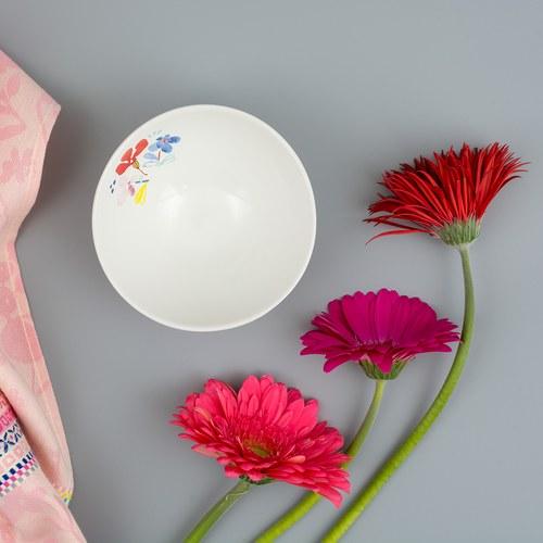 荷蘭FloraCastle 淡雅民族風圖紋陶碗 (直徑13公分)