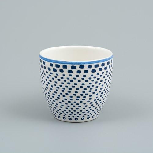荷蘭FloraCastle 藍色手繪方塊圖紋咖啡杯 (250毫升)